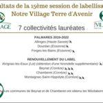 5e session de labellisation « Notre Village Terre d'Avenir »