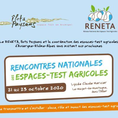 Les prochaines rencontres nationales du Réseau des espaces-test agricoles (Reneta) se dérouleront du 21 au 23 octobre 2020, au lycée agricole Claude Mercier, à Le-Mayet-de-Montagne, dans l'Allier (03).