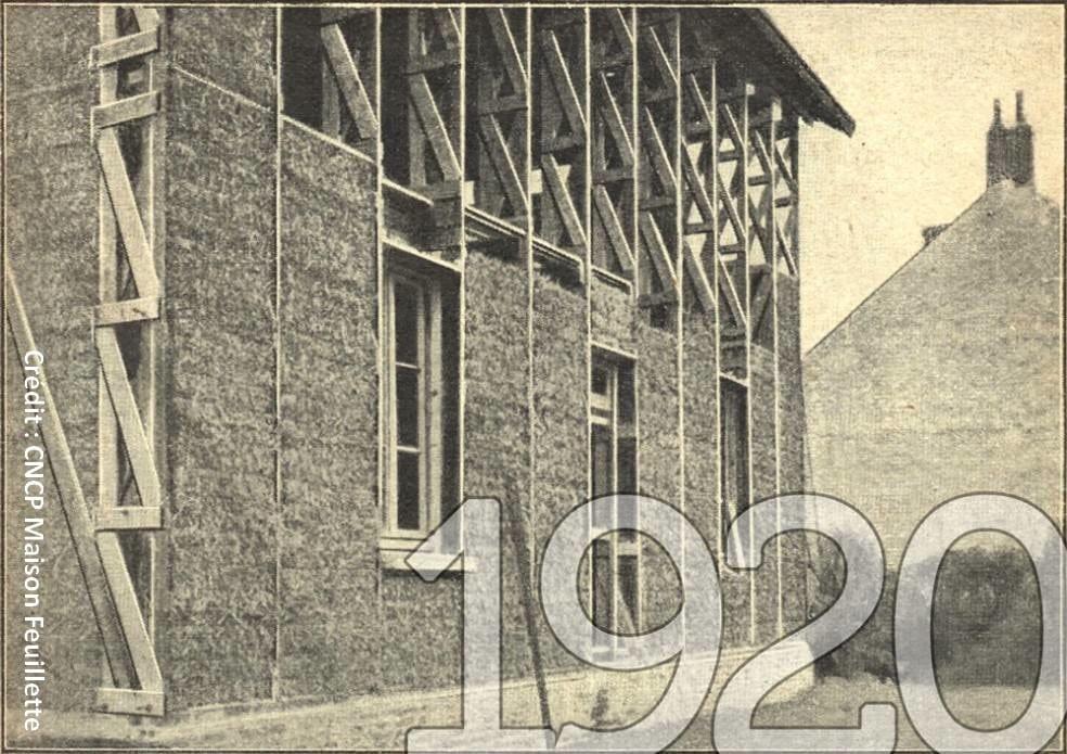 La maison Feuillette, bâtie en 1920 à Montargis (Loiret), est la plus ancienne construction européenne composée d'une ossature bois avec remplissage en paille