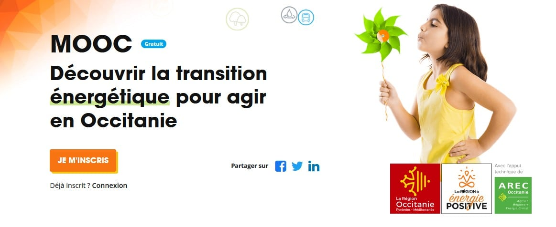 """Né de la volonté de la Région Occitanie, le MOOC """"Découvrir la transition énergétique pour agir en Occitanie"""" est dédié à la transition énergétique et au changement climatique."""